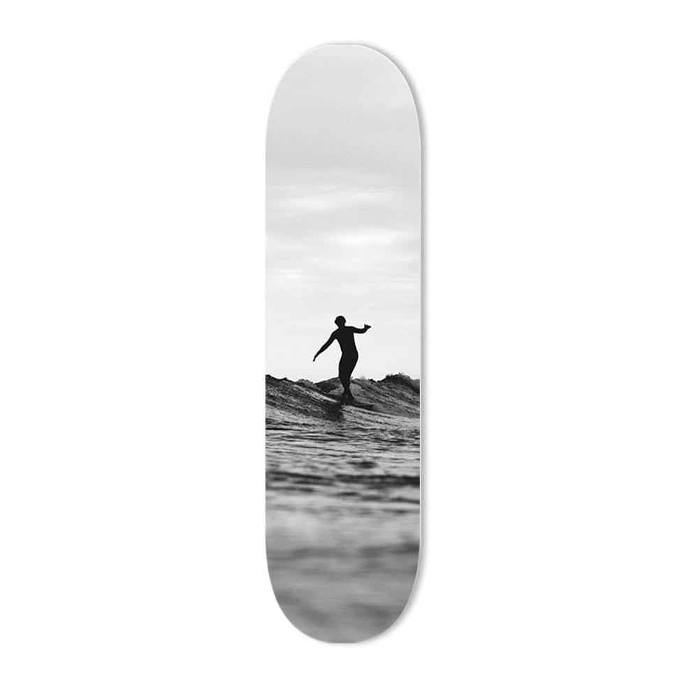 """Lone Surfer"" - Skateboard - HYLUS Acrylic Glass Art - Skateboards, Surfboards & Glass Prints Wall Decor for your Home."