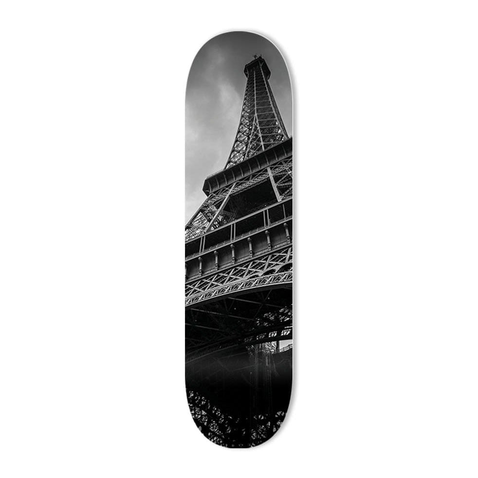 """Paris in Black & White"" - Skateboard - HYLUS Acrylic Glass Art - Skateboards, Surfboards & Glass Prints Wall Decor for your Home."