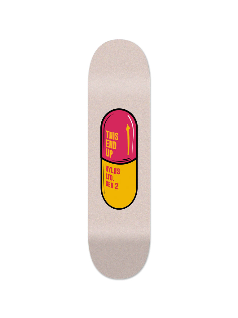 """Pill Red"" - Skateboard - HYLUS Acrylic Glass Art - Skateboards, Surfboards & Glass Prints Wall Decor for your Home."