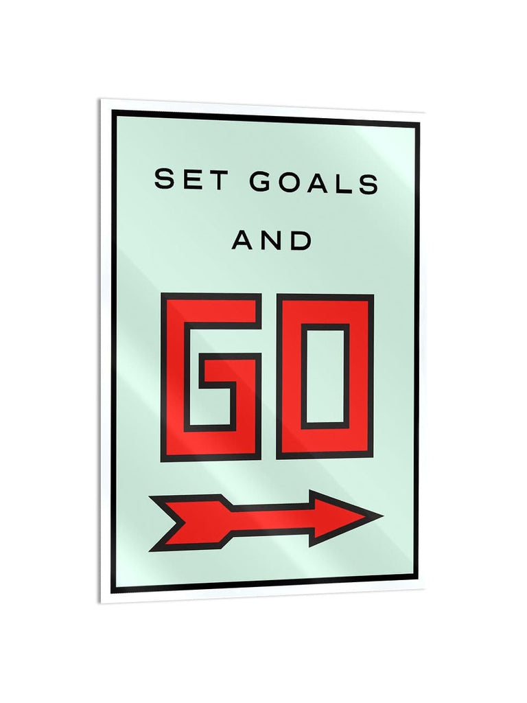 """Set Goals"" - Glass Print - HYLUS Acrylic Glass Art - Skateboards, Surfboards & Glass Prints Wall Decor for your Home."