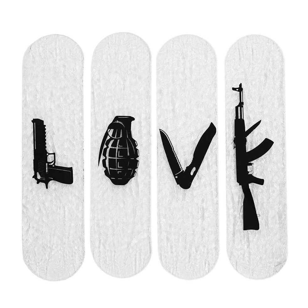 "CRYSTAL Edition Bundle: ""LOVE GUNS"" - CRYSTAL Skateboard - HYLUS Acrylic Glass Art - Skateboards, Surfboards & Glass Prints Wall Decor for your Home."