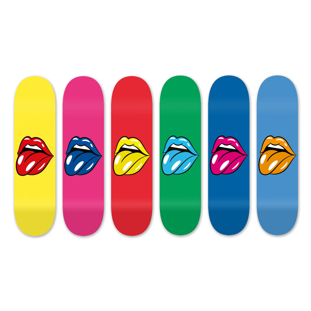"Bundle: ""Lips King"" - Skateboard - HYLUS Acrylic Glass Art - Skateboards, Surfboards & Glass Prints Wall Decor for your Home."
