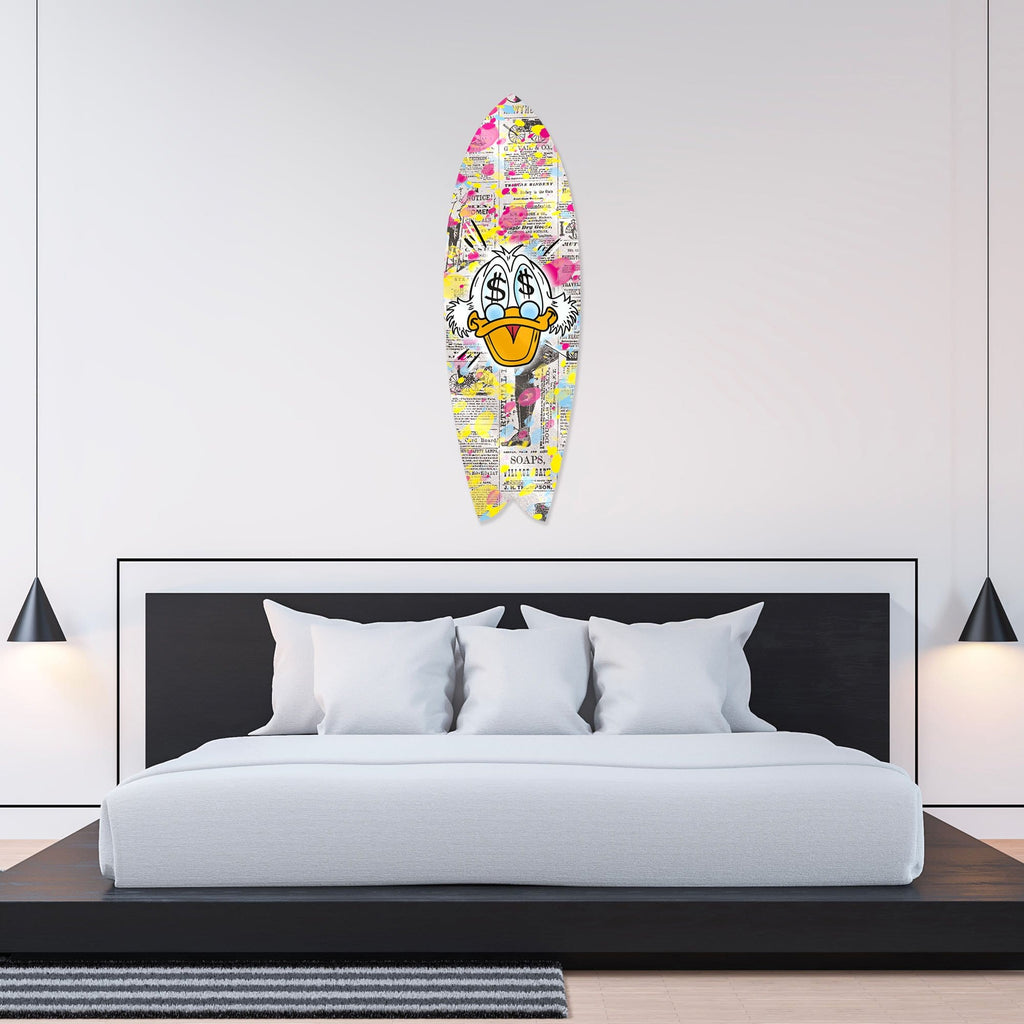 """$$$ Duck"" - Surfboard - HYLUS Acrylic Glass Art - Skateboards, Surfboards & Glass Prints Wall Decor for your Home."