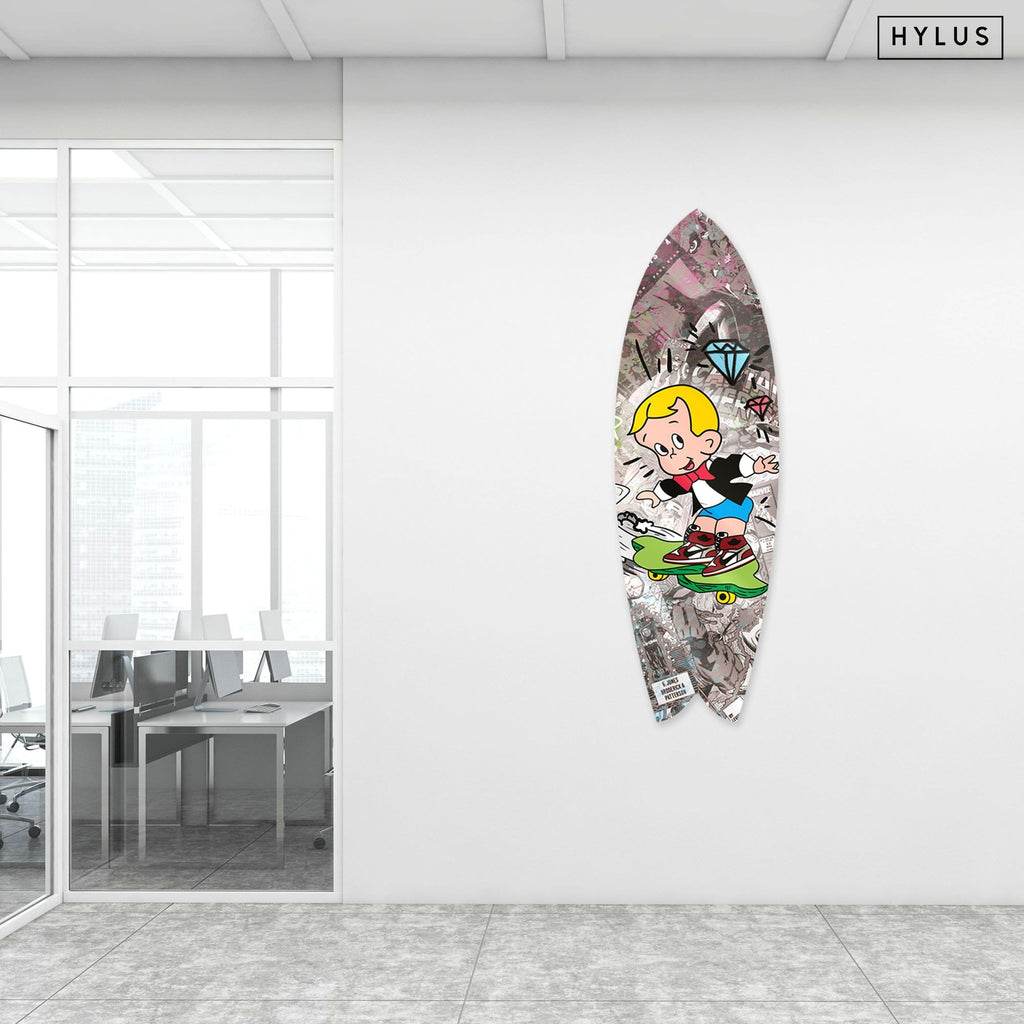 """Hype Richie"" - Surfboard - HYLUS Acrylic Glass Art - Skateboards, Surfboards & Glass Prints Wall Decor for your Home."