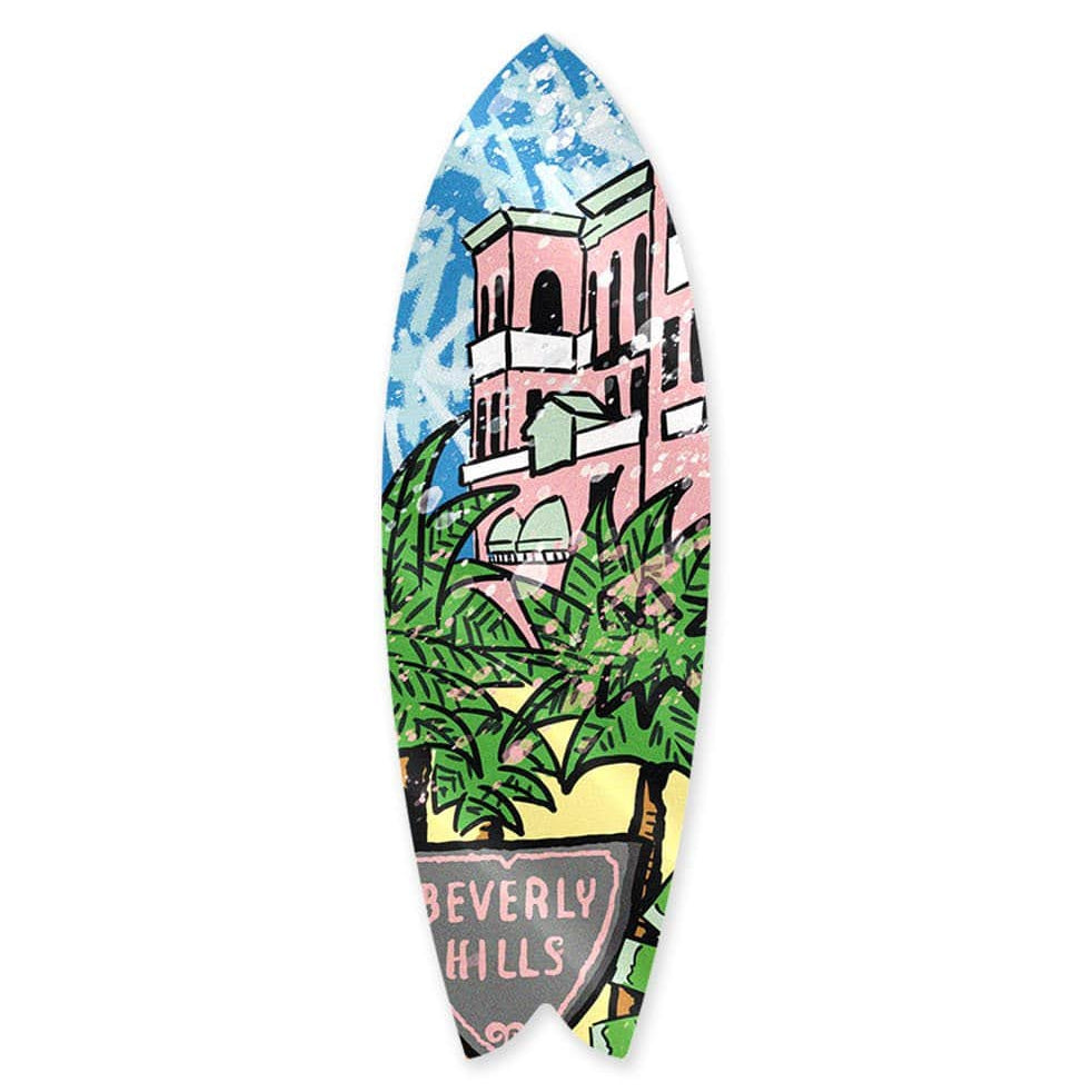 """Beverly Hills: Palm Mansion"" - Surfboard - HYLUS Acrylic Glass Art - Skateboards, Surfboards & Glass Prints Wall Decor for your Home."