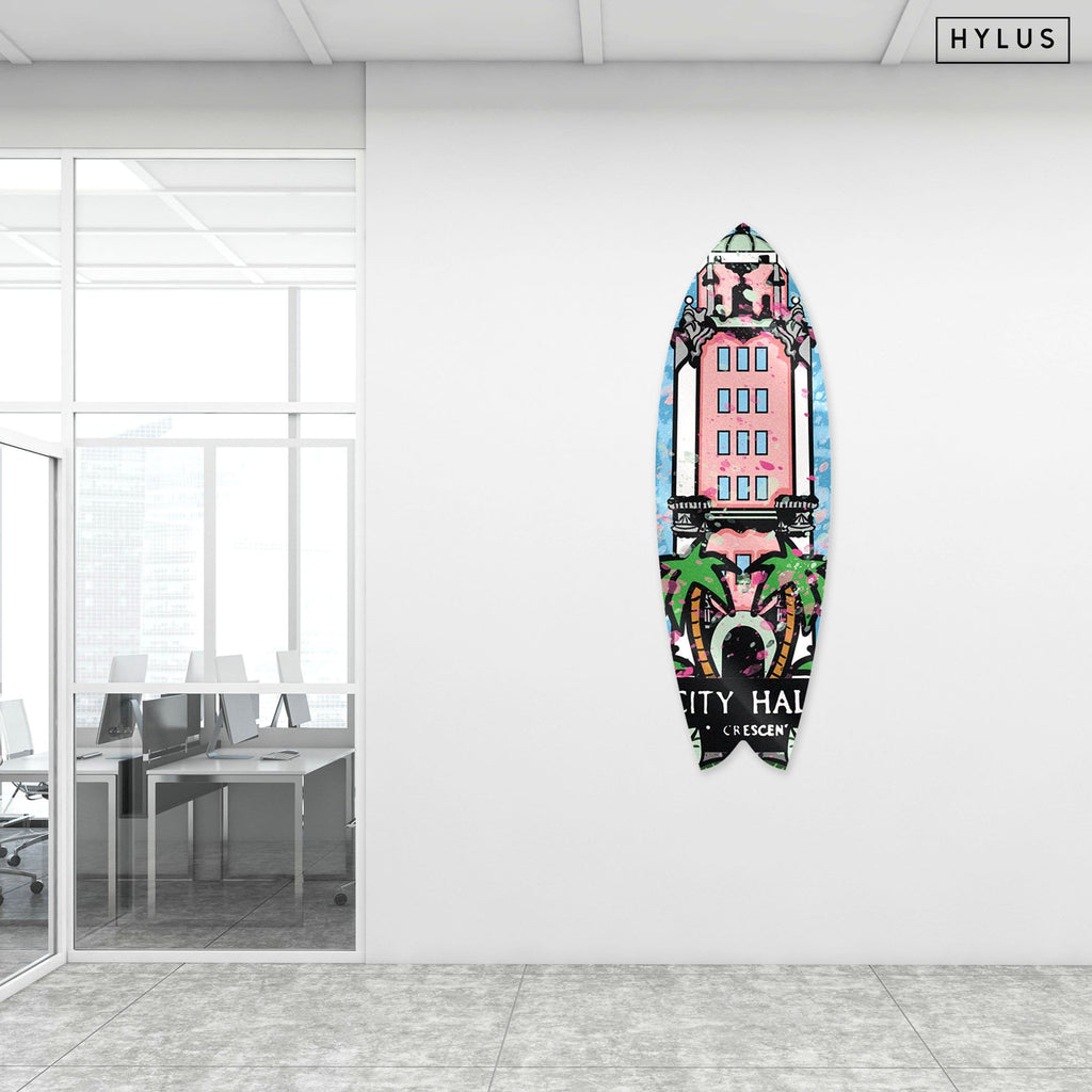 """Beverly Hills: City Hall"" - Surfboard - HYLUS Acrylic Glass Art - Skateboards, Surfboards & Glass Prints Wall Decor for your Home."