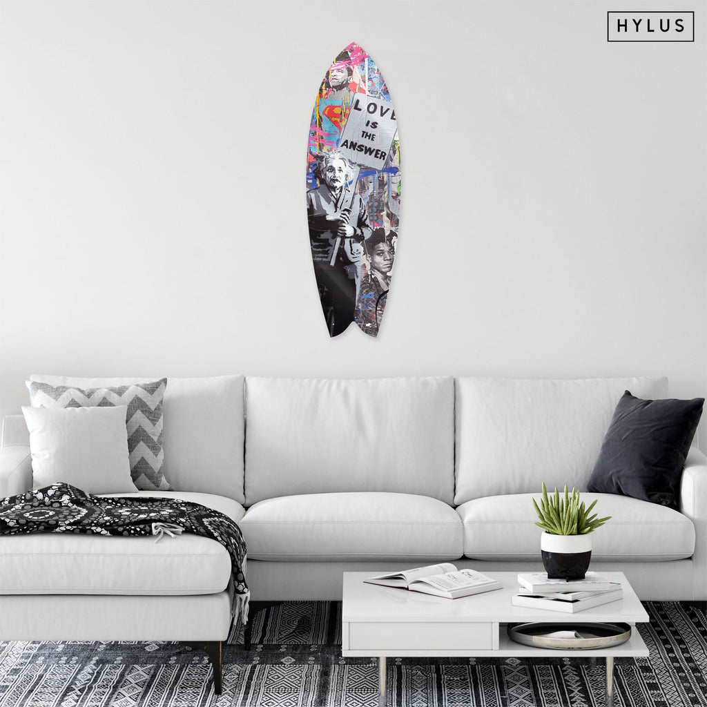 """Love is the Answer"" - Surfboard - HYLUS Acrylic Glass Art - Skateboards, Surfboards & Glass Prints Wall Decor for your Home."