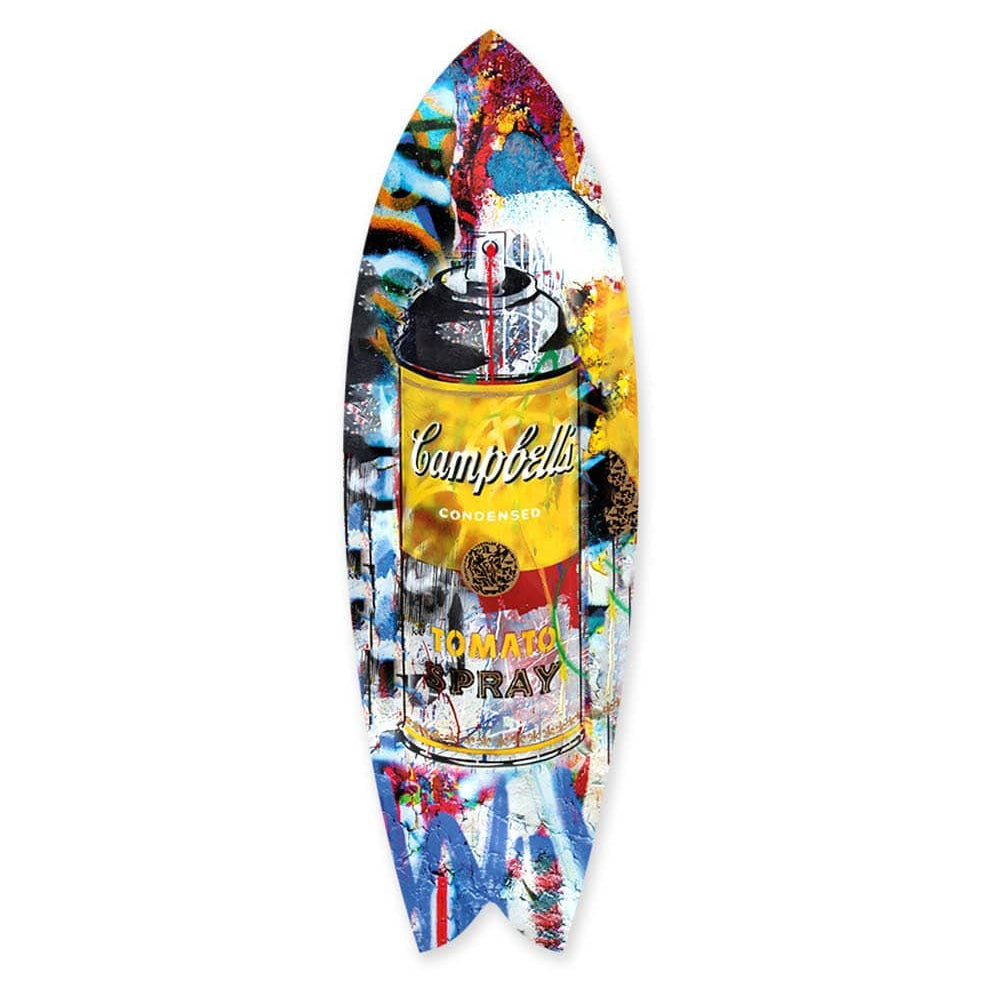 """Tomato Spray Yellow"" - Surfboard - HYLUS Acrylic Glass Art - Skateboards, Surfboards & Glass Prints Wall Decor for your Home."