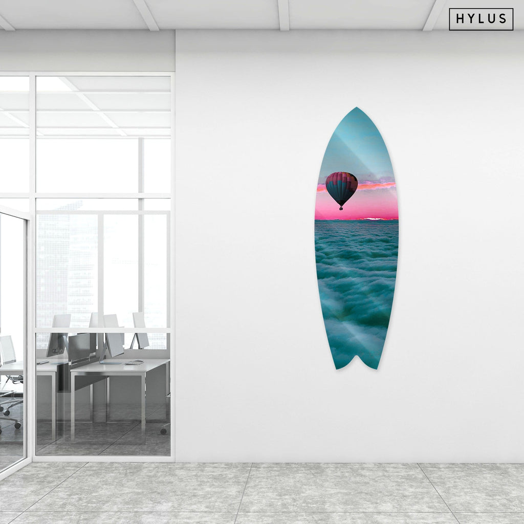 """Dreamy Clouds"" - Surfboard - HYLUS Acrylic Glass Art - Skateboards, Surfboards & Glass Prints Wall Decor for your Home."
