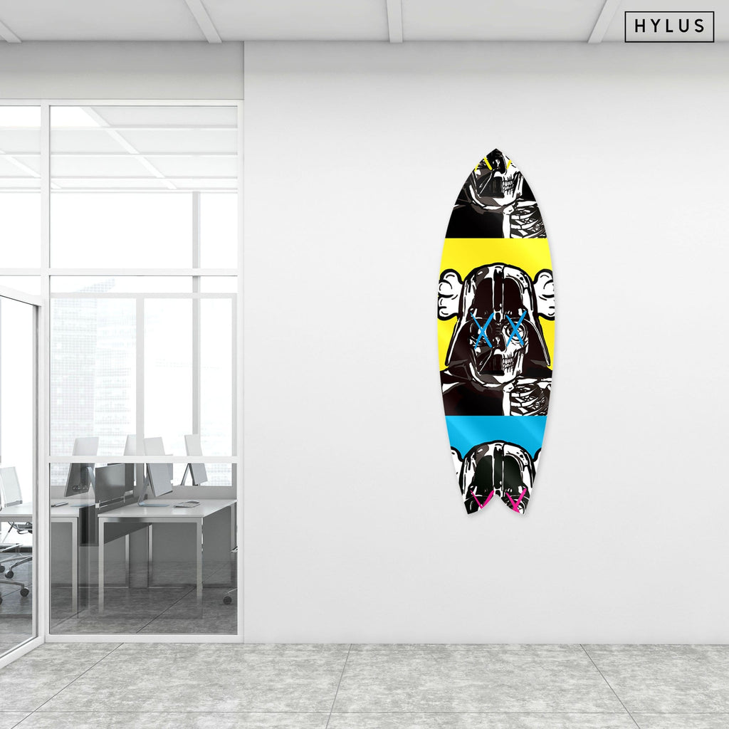 """Space Soldier X Yellow"" - Surfboard - HYLUS Acrylic Glass Art - Skateboards, Surfboards & Glass Prints Wall Decor for your Home."