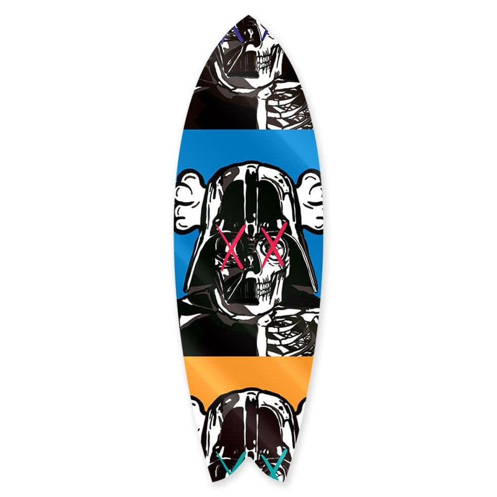 """Space Soldier X Blue"" - Surfboard - HYLUS Acrylic Glass Art - Skateboards, Surfboards & Glass Prints Wall Decor for your Home."