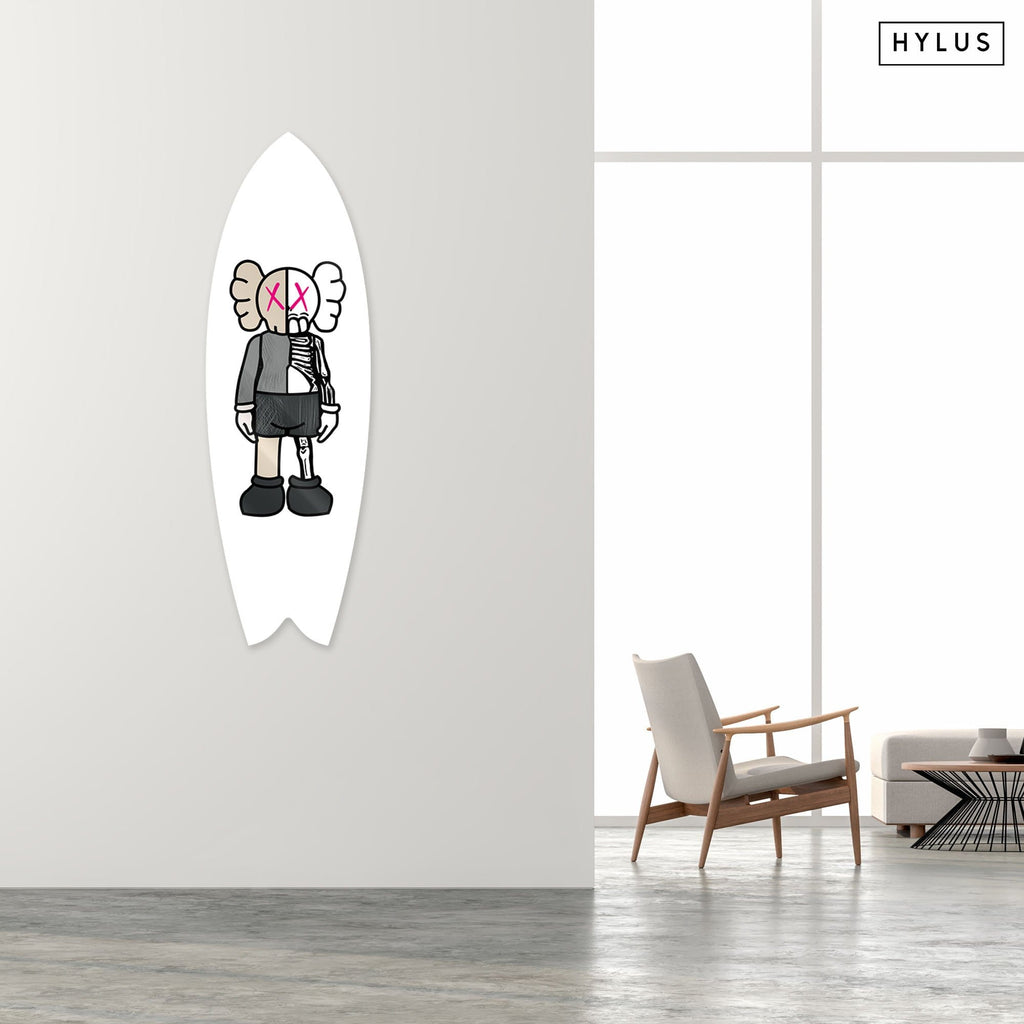 """Buddy White Pink"" - Surfboard - HYLUS Acrylic Glass Art - Skateboards, Surfboards & Glass Prints Wall Decor for your Home."