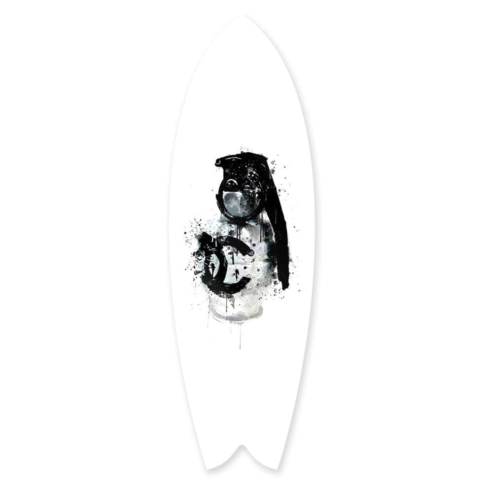 """Luxury Grenade White"" - Surfboard - HYLUS Acrylic Glass Art - Skateboards, Surfboards & Glass Prints Wall Decor for your Home."