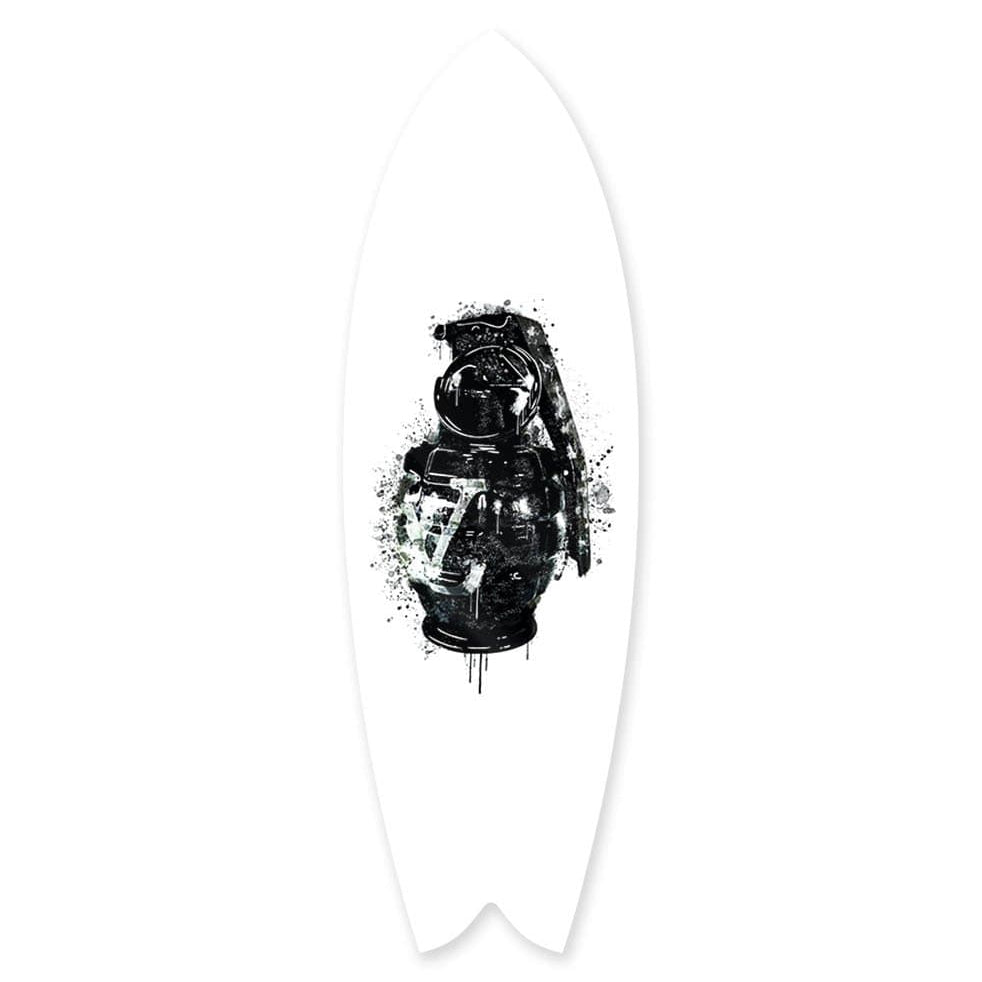 """Luxury Grenade Black"" - Surfboard - HYLUS Acrylic Glass Art - Skateboards, Surfboards & Glass Prints Wall Decor for your Home."