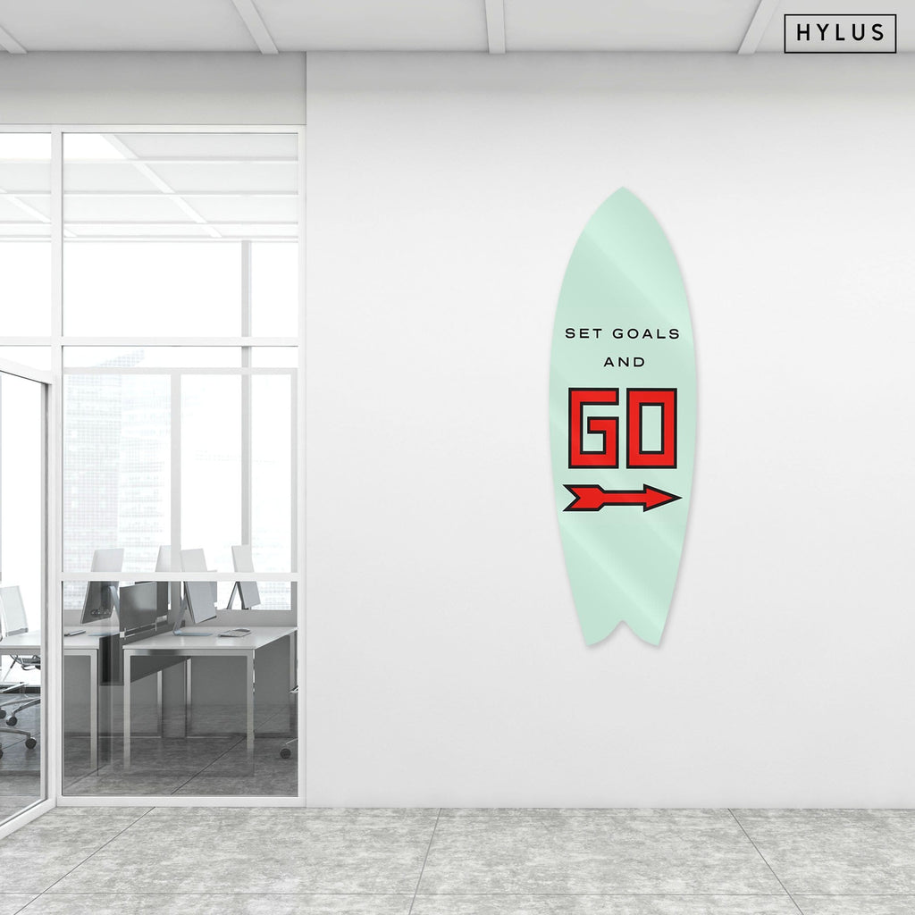 """Set Goals"" - Surfboard - HYLUS Acrylic Glass Art - Skateboards, Surfboards & Glass Prints Wall Decor for your Home."