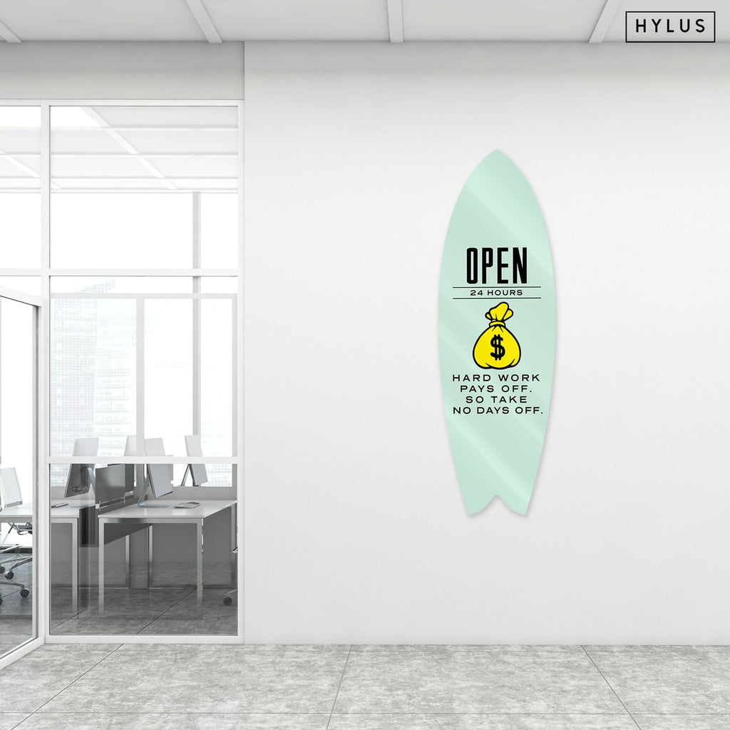 """Open 24/7"" - Surfboard - HYLUS Acrylic Glass Art - Skateboards, Surfboards & Glass Prints Wall Decor for your Home."