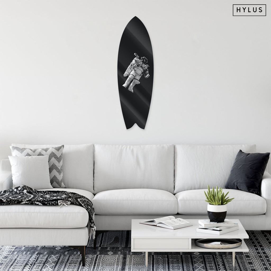 """Space Explorer"" - Surfboard - HYLUS Acrylic Glass Art - Skateboards, Surfboards & Glass Prints Wall Decor for your Home."
