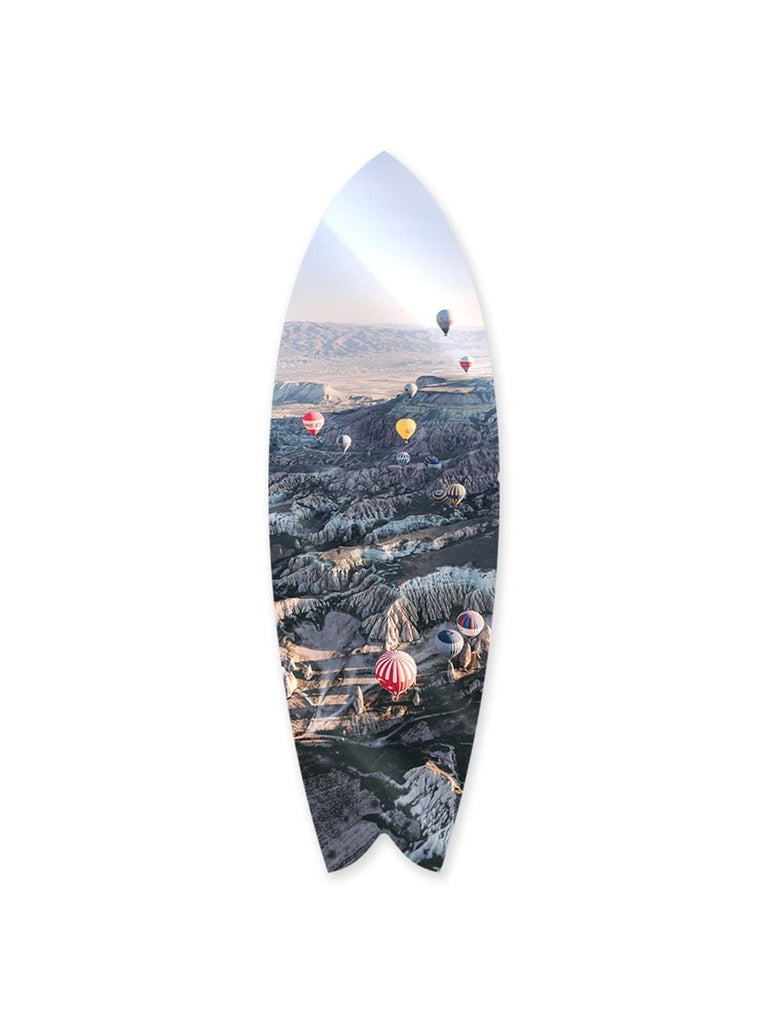 """Balloon Mountain"" - Surfboard - HYLUS Acrylic Glass Art - Skateboards, Surfboards & Glass Prints Wall Decor for your Home."