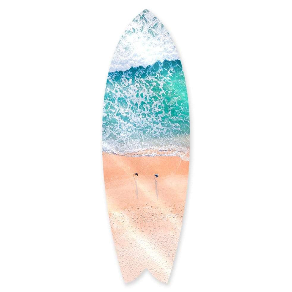 """Beach Shadows"" - Surfboard - HYLUS Acrylic Glass Art - Skateboards, Surfboards & Glass Prints Wall Decor for your Home."