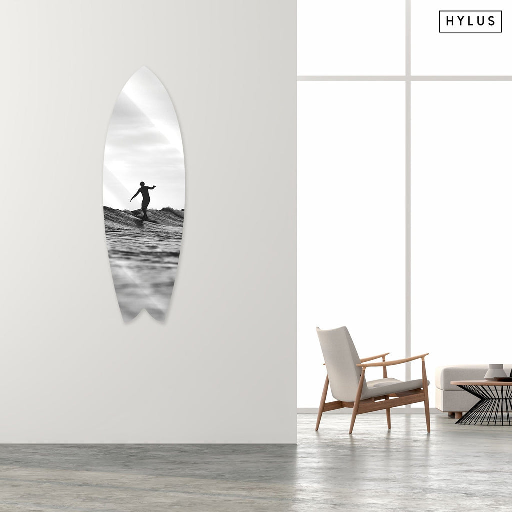 """Lone Surfer"" - Surfboard - HYLUS Acrylic Glass Art - Skateboards, Surfboards & Glass Prints Wall Decor for your Home."