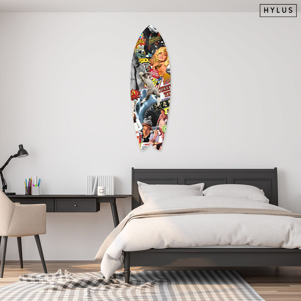 """Pop Art Culture"" - Surfboard - HYLUS Acrylic Glass Art - Skateboards, Surfboards & Glass Prints Wall Decor for your Home."