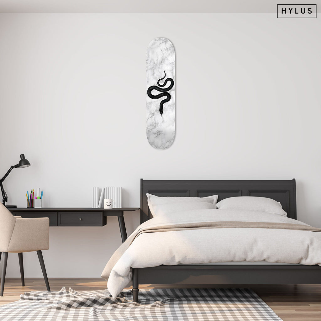 """Marble Snake Grey"" - Skateboard - HYLUS Acrylic Glass Art - Skateboards, Surfboards & Glass Prints Wall Decor for your Home."