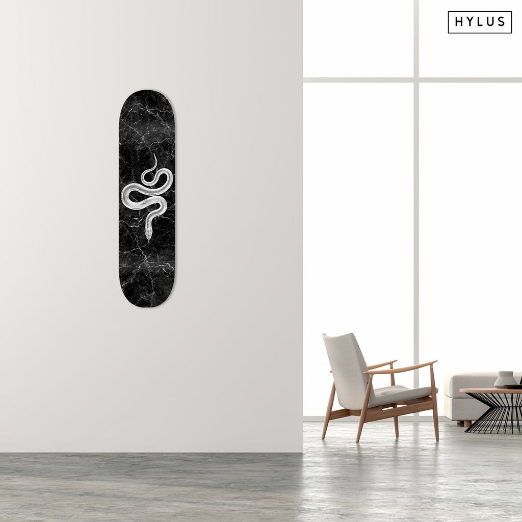 "Bundle: ""Marble Snake Grey & Black"" - Skateboard - HYLUS Acrylic Glass Art - Skateboards, Surfboards & Glass Prints Wall Decor for your Home."
