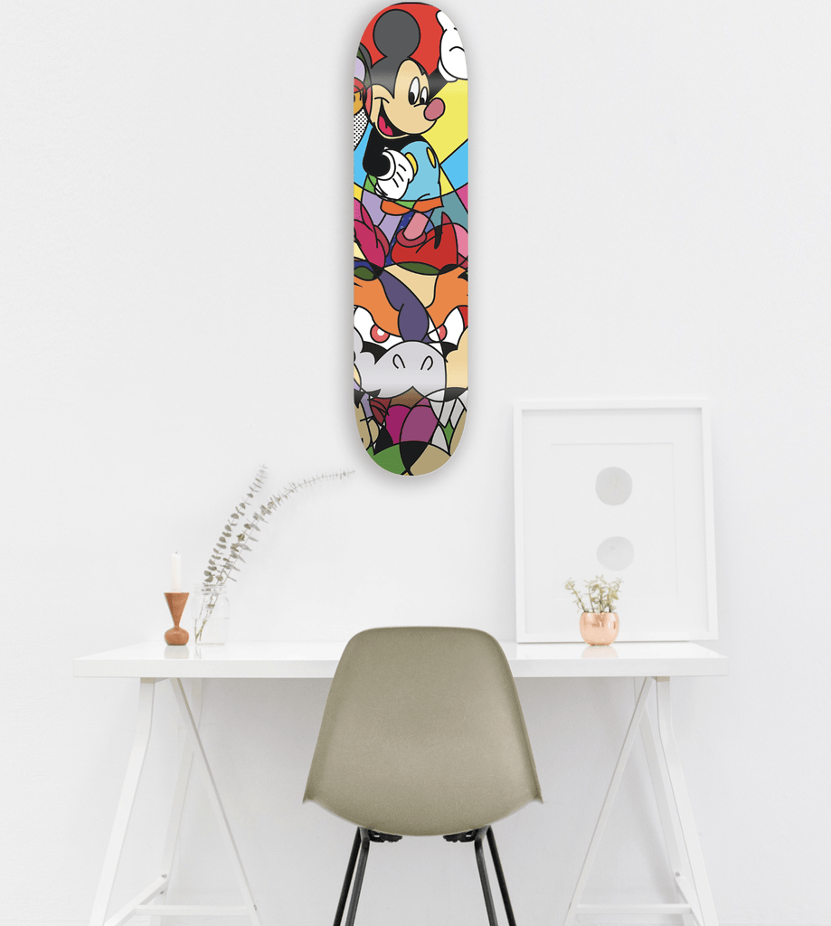"""Mickey"" - Skateboard - HYLUS Acrylic Glass Art - Skateboards, Surfboards & Glass Prints Wall Decor for your Home."