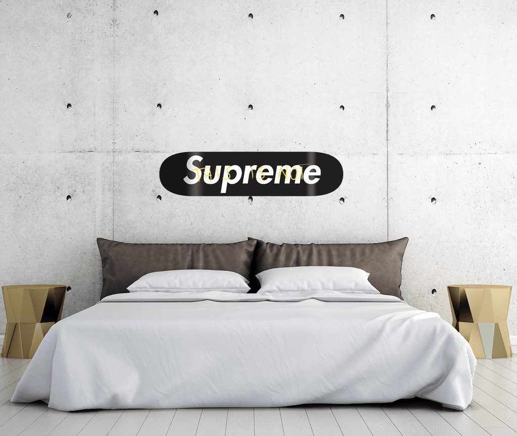 """this is not Supreme Black"" - Skateboard - HYLUS Acrylic Glass Art - Skateboards, Surfboards & Glass Prints Wall Decor for your Home."