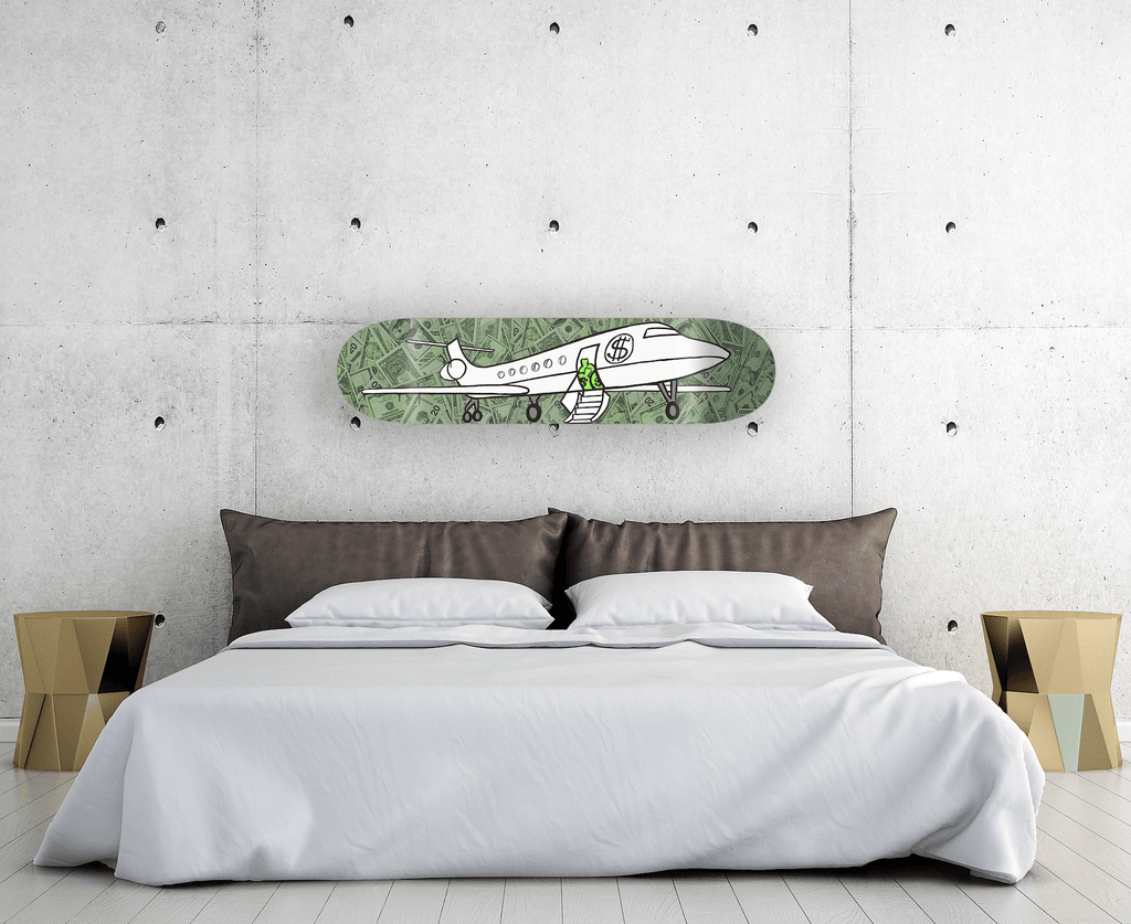 """Dollar Jet"" - Skateboard - HYLUS Acrylic Glass Art - Skateboards, Surfboards & Glass Prints Wall Decor for your Home."