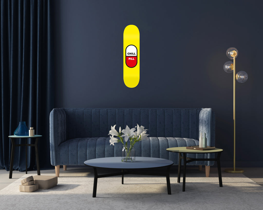 "HYLUS X ZZDesign - ""Chill Pill"" - Skateboard - HYLUS Acrylic Glass Art - Skateboards, Surfboards & Glass Prints Wall Decor for your Home."