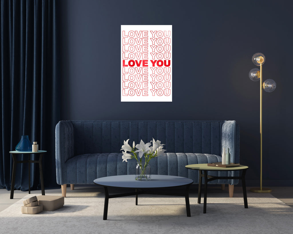 "HYLUS X ZZDesign - ""Love You"" - Glass Print - HYLUS Acrylic Glass Art - Skateboards, Surfboards & Glass Prints Wall Decor for your Home."