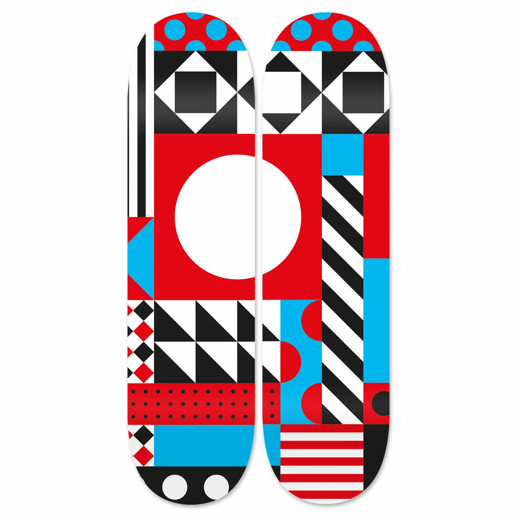 "HYLUS X ZZDesign - ""Dazzling Red & Cyan"" - Skateboard - HYLUS Acrylic Glass Art - Skateboards, Surfboards & Glass Prints Wall Decor for your Home."