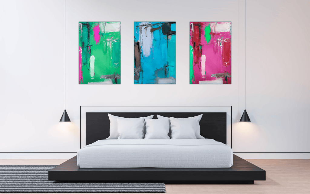 "Bundle: ""Green & Blue & Pink Vibes"" - Glass Print - HYLUS Acrylic Glass Art - Skateboards, Surfboards & Glass Prints Wall Decor for your Home."