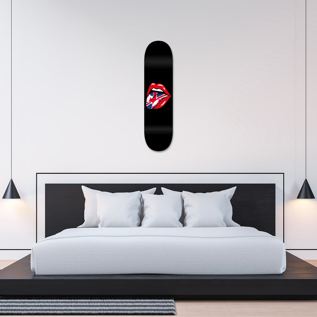 """Lips GB"" - Skateboard - HYLUS Acrylic Glass Art - Skateboards, Surfboards & Glass Prints Wall Decor for your Home."