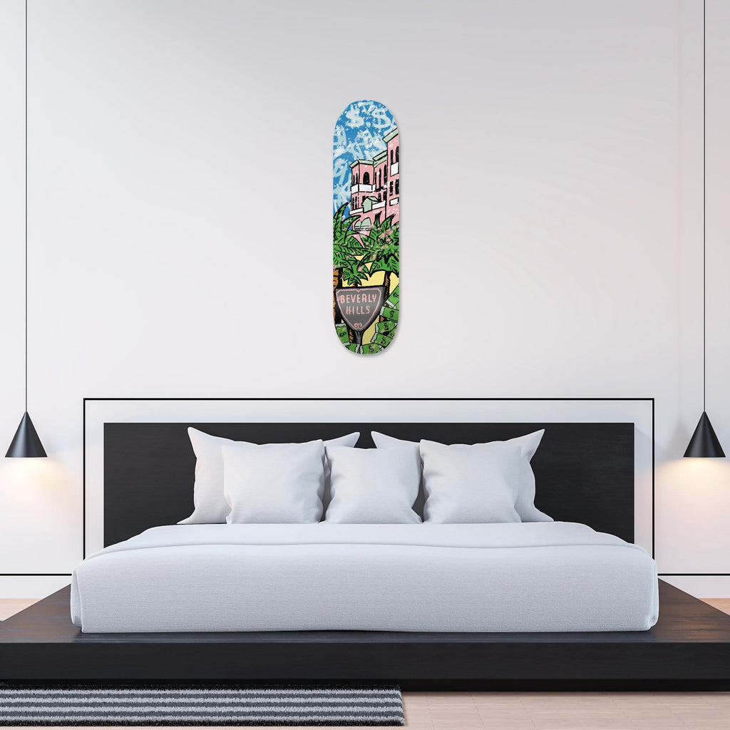 """Beverly Hills: Palm Mansion"" - Skateboard - HYLUS Acrylic Glass Art - Skateboards, Surfboards & Glass Prints Wall Decor for your Home."