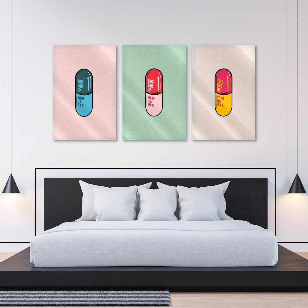 "Bundle: ""Pill Red & Blue & Green"" - Glass Print - HYLUS Acrylic Glass Art - Skateboards, Surfboards & Glass Prints Wall Decor for your Home."