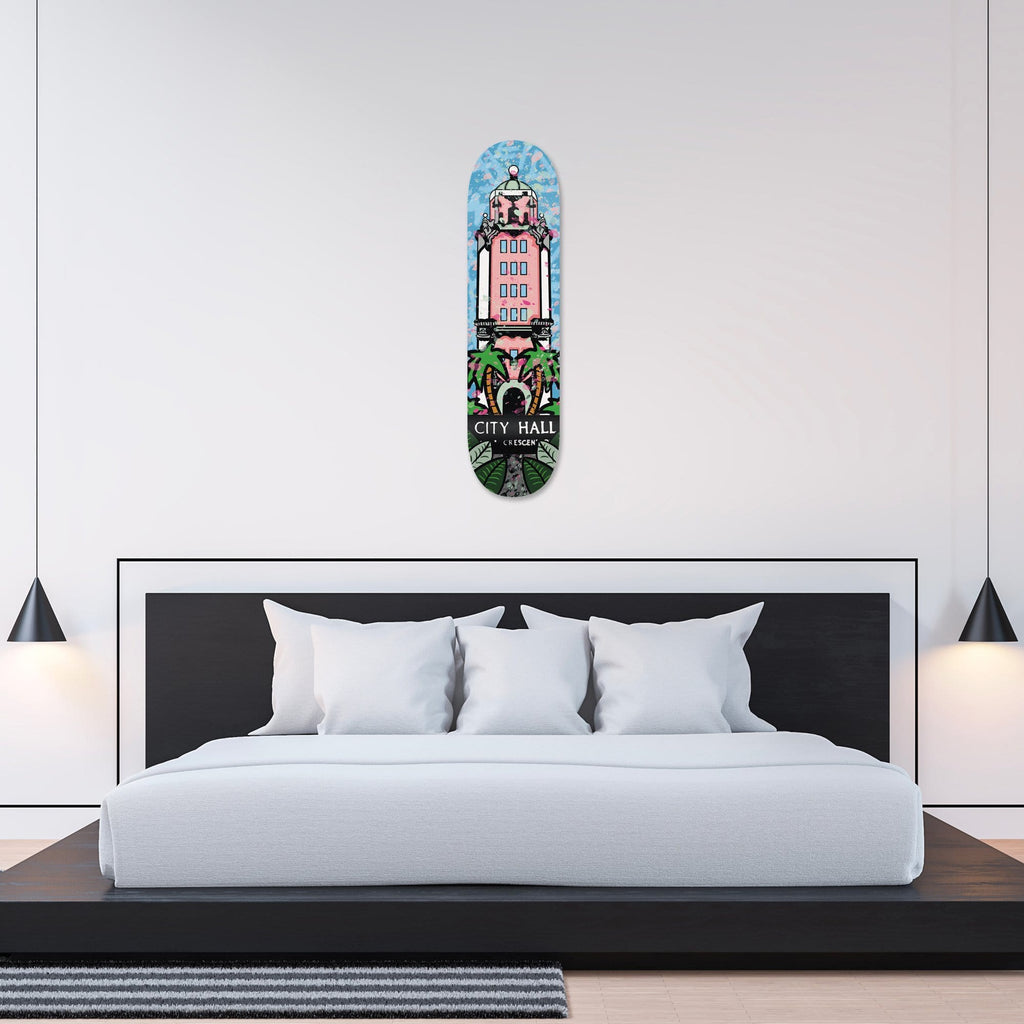 """Beverly Hills: City Hall"" - Skateboard - HYLUS Acrylic Glass Art - Skateboards, Surfboards & Glass Prints Wall Decor for your Home."