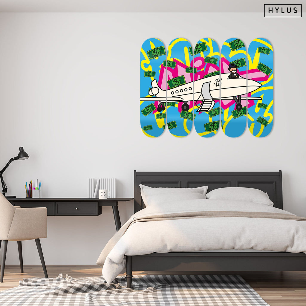 """Money Jet"" - Skateboard - HYLUS Acrylic Glass Art - Skateboards, Surfboards & Glass Prints Wall Decor for your Home."