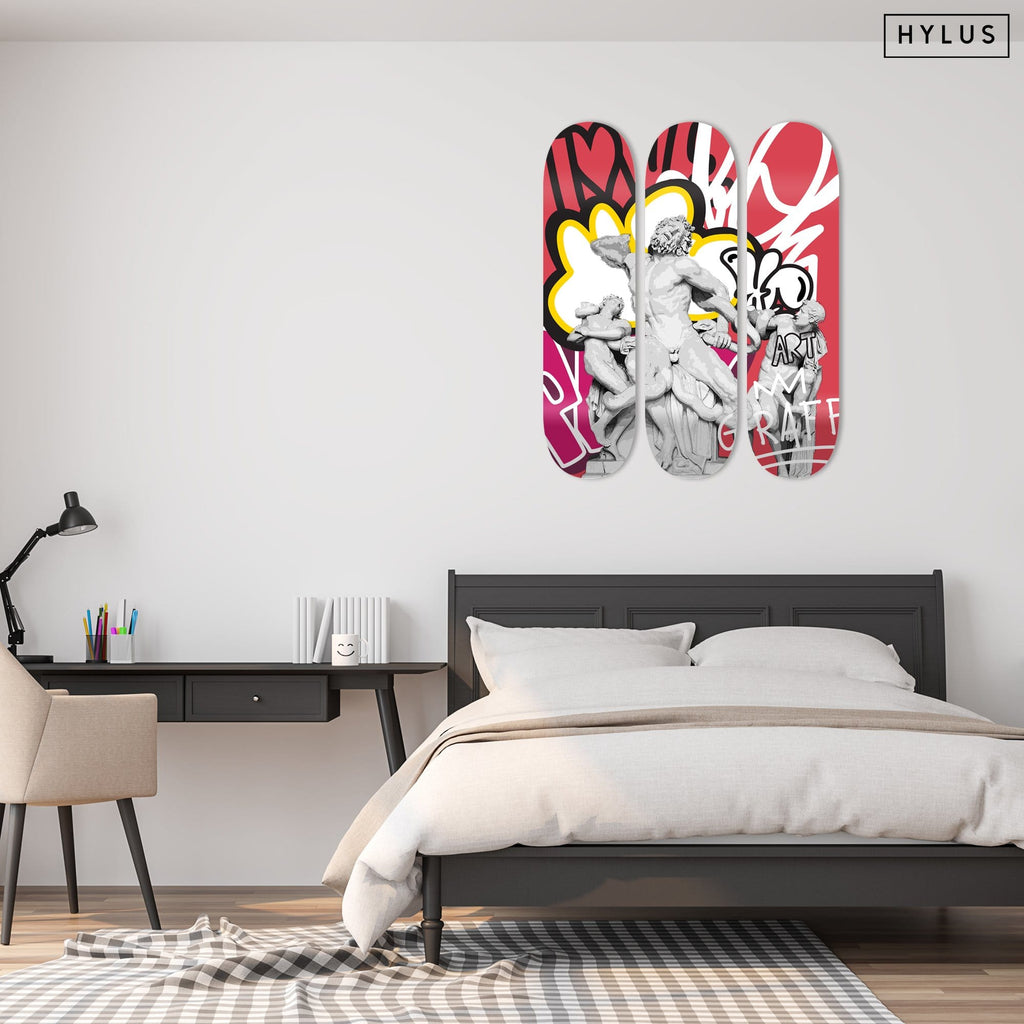 """Lacoon and his Sons"" - Skateboard - HYLUS Acrylic Glass Art - Skateboards, Surfboards & Glass Prints Wall Decor for your Home."