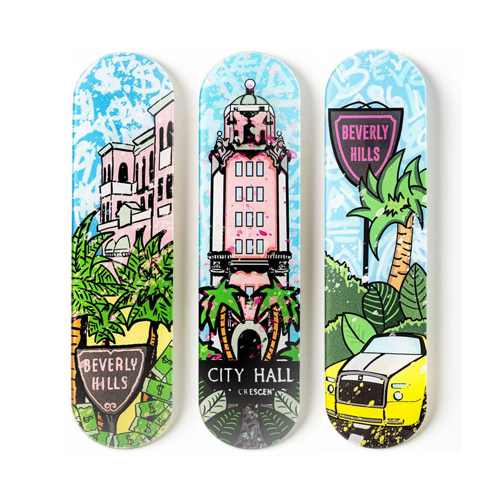 "Bundle: ""Beverly Hills: Palm Mansion & City Hall & Double R"" - Skateboard - HYLUS Acrylic Glass Art - Skateboards, Surfboards & Glass Prints Wall Decor for your Home."