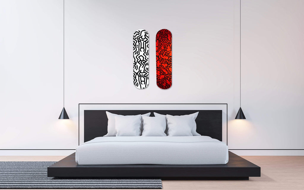 "Bundle: ""Happiness B&W & Deep Red"" - Skateboard - HYLUS Acrylic Glass Art - Skateboards, Surfboards & Glass Prints Wall Decor for your Home."