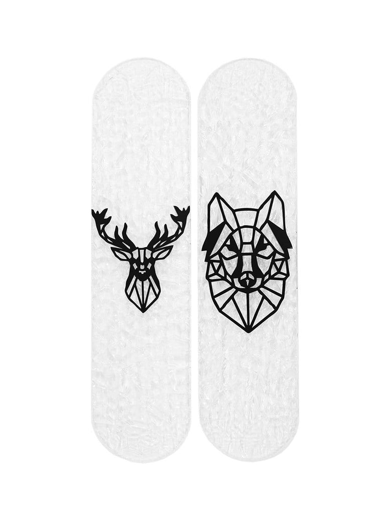 "CRYSTAL Edition Bundle: ""Deer & Wolf"" - CRYSTAL Skateboard - HYLUS Acrylic Glass Art - Skateboards, Surfboards & Glass Prints Wall Decor for your Home."
