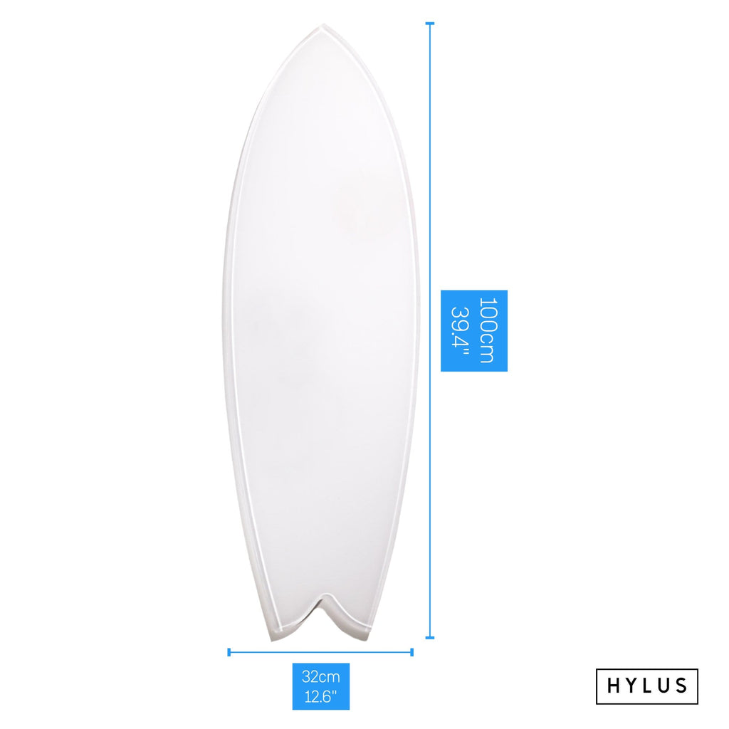 """Happiness B&W"" - Surfboard - HYLUS Acrylic Glass Art - Skateboards, Surfboards & Glass Prints Wall Decor for your Home."
