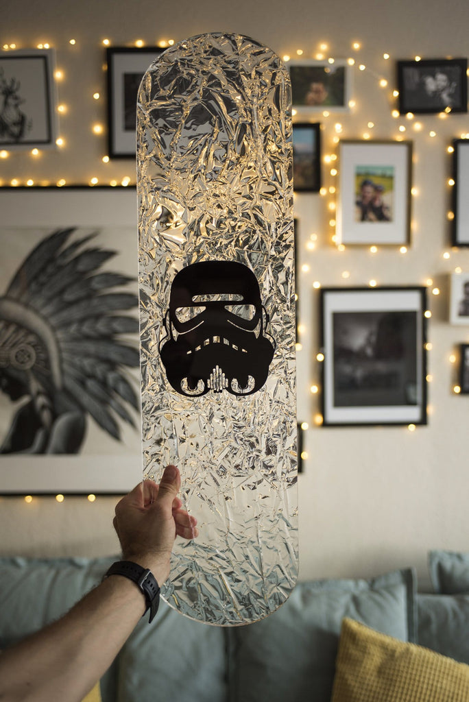 "CRYSTAL Edition: ""Space Soldier"" - CRYSTAL Skateboard - HYLUS Acrylic Glass Art - Skateboards, Surfboards & Glass Prints Wall Decor for your Home."