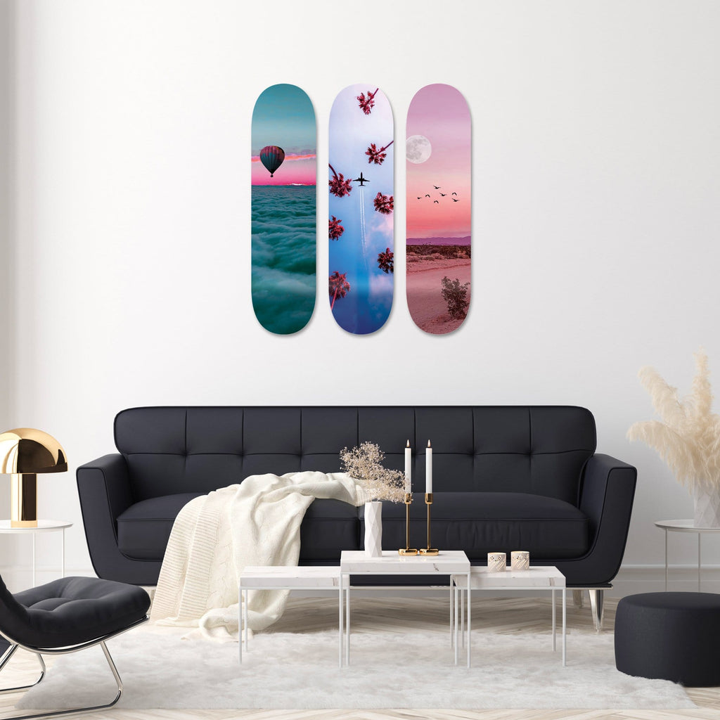 "Bundle: ""Dreamy Clouds & Sky & Desert"" - Skateboard - HYLUS Acrylic Glass Art - Skateboards, Surfboards & Glass Prints Wall Decor for your Home."