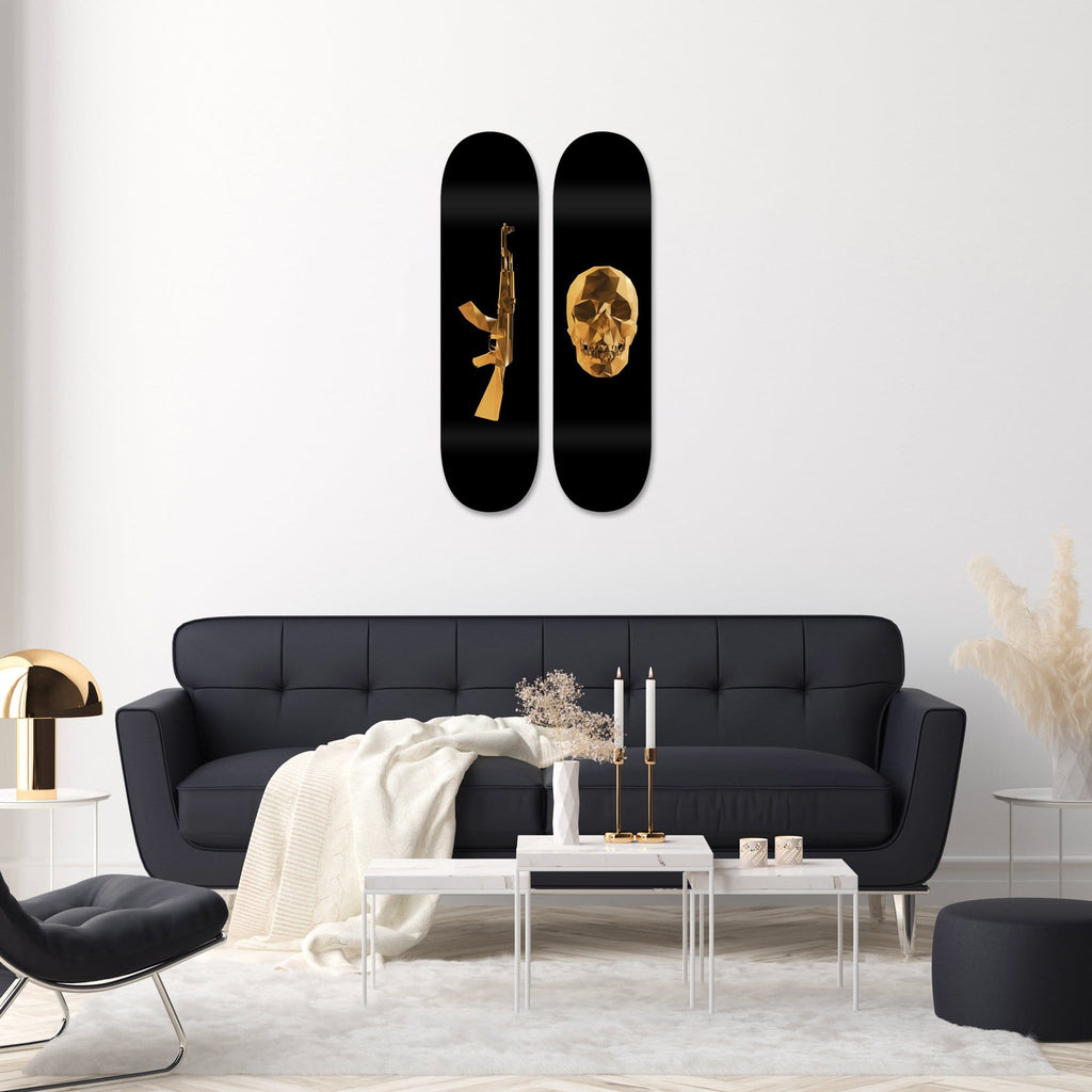 "Bundle: ""Gold AK-47 & Skull"" - Skateboard - HYLUS Acrylic Glass Art - Skateboards, Surfboards & Glass Prints Wall Decor for your Home."
