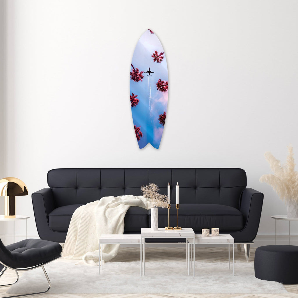 """Dreamy Sky"" - Surfboard - HYLUS Acrylic Glass Art - Skateboards, Surfboards & Glass Prints Wall Decor for your Home."