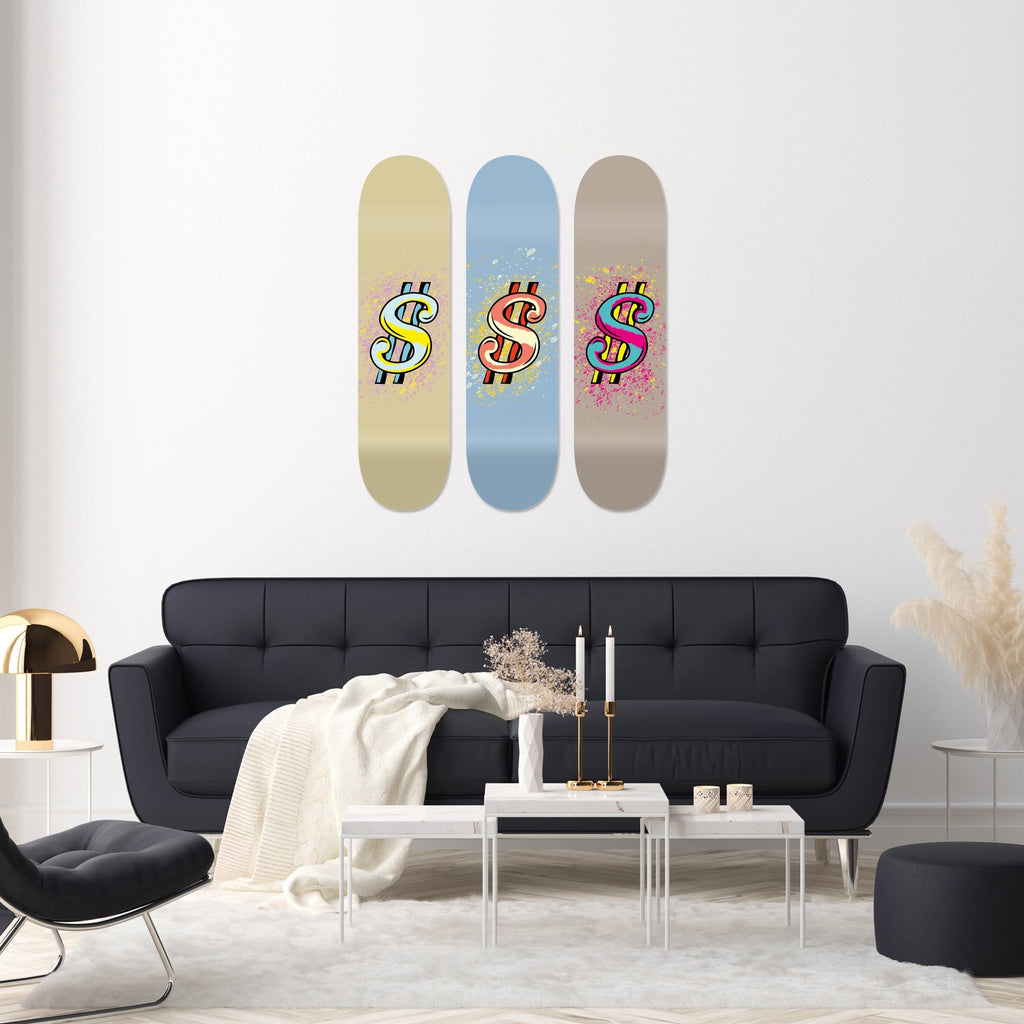 "Bundle: ""Dollar Brown & Azure & Sand"" - Skateboard - HYLUS Acrylic Glass Art - Skateboards, Surfboards & Glass Prints Wall Decor for your Home."