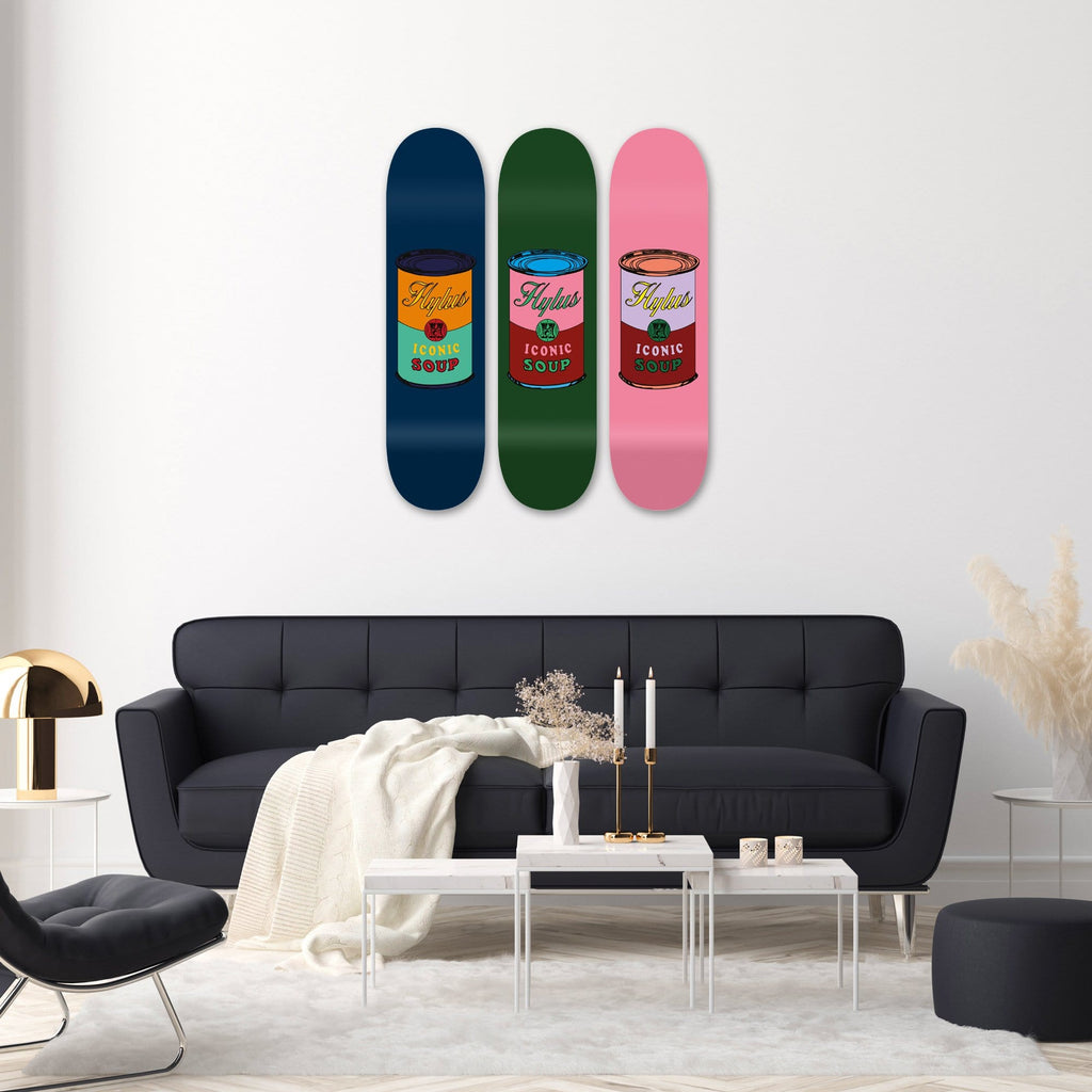 "Bundle: ""Blue & Green & Pink Soup"" - Skateboard - HYLUS Acrylic Glass Art - Skateboards, Surfboards & Glass Prints Wall Decor for your Home."